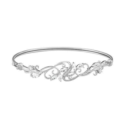 Sterling Silver Lab-Created White Sapphire Filigree Bangle Bracelet