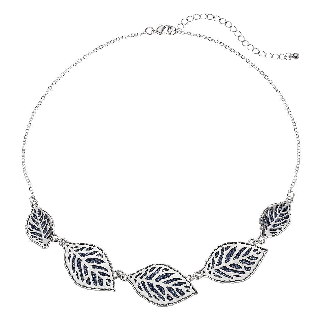 Blue Glittery Leaf Graduated Necklace