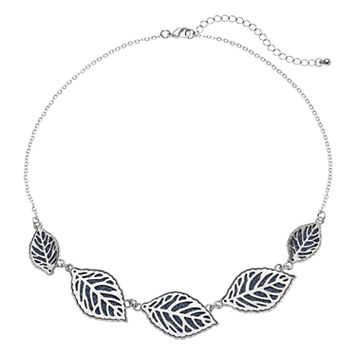 Blue Glittery Leaf Graduated Necklace