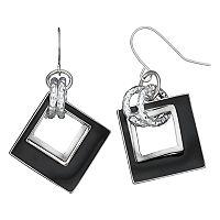Black Cutout Square Nickel Free Drop Earrings