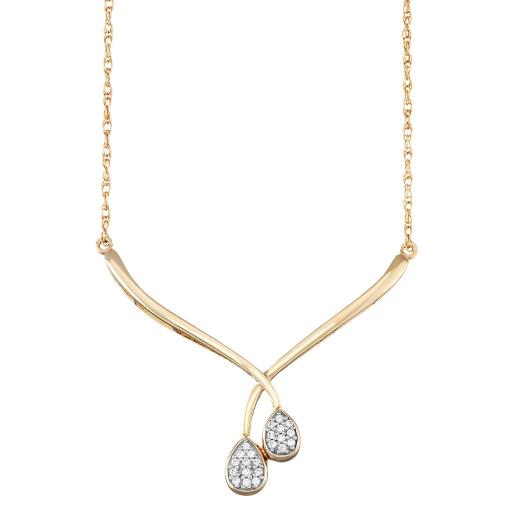 14k Gold Over Silver 1/10 Carat T.W. Diamond Double Teardrop Necklace