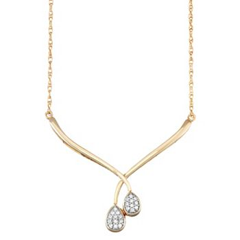 14k Gold Over Silver 1/10 Carat T.W. Diamond Double Teardrop Necklace