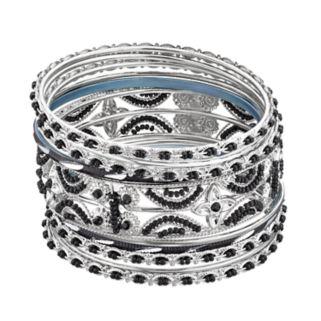 Black Seed Bead Openwork Bangle Bracelet Set