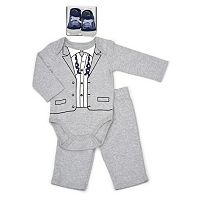 Baby Boy Vitamins Baby Tuxedo Bodysuit, Pants & Socks Set