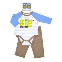 Baby Boy Vitamins Baby Graphic Mock-Layer Bodysuit, Pants & Socks Set