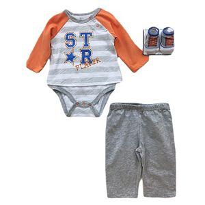 Baby Boy Vitamins Baby Graphic Mock-Layer Bodysuit, Pants & Socks Set
