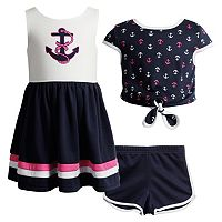 Girls 4-6x Youngland Anchor Sleveless Dress, Popover Top & Shorts Set