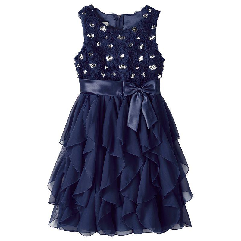 Girls 7-16 & Plus Size American Princess Corkscrew Dress, Girl's, Size: 12 1/2PLUS, Blue (Navy)