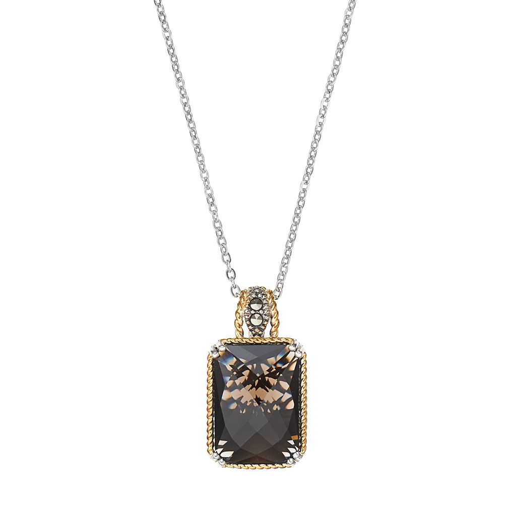 Lavish by TJM Two Tone Sterling Silver Smoky Quartz & Marcasite Octagon Pendant