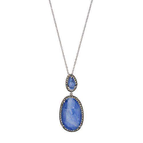 Lavish by TJM Sterling Silver Sapphire Doublet & Marcasite Oval Pendant