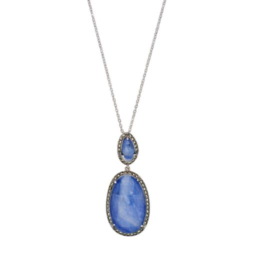 Lavish by TJM Sterling Silver Sapphire Doublet & Marcasite Oval Pendant