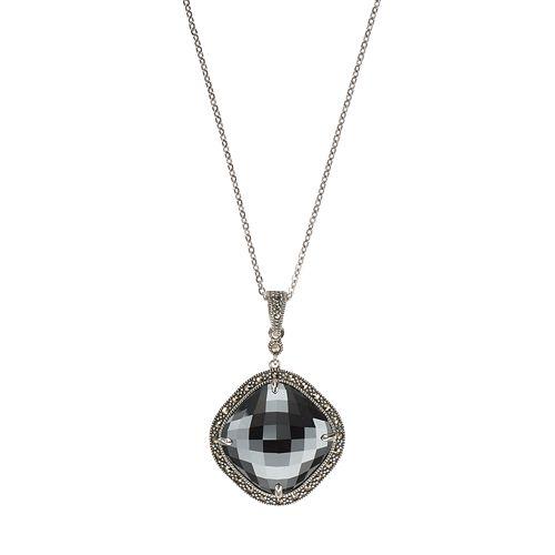 Lavish by TJM Sterling Silver Hematite & Marcasite Pendant