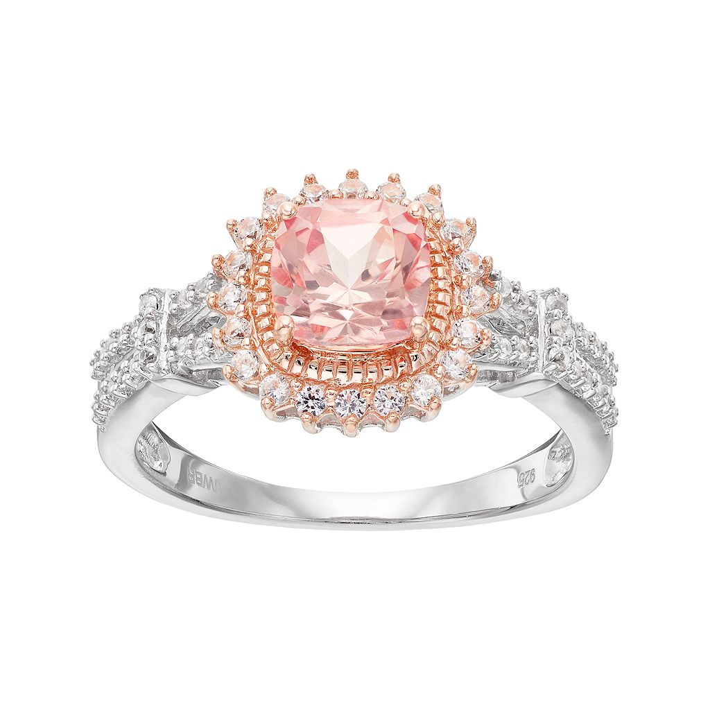Two Tone Sterling Silver Lab-Created Morganite & White Sapphire Halo Ring