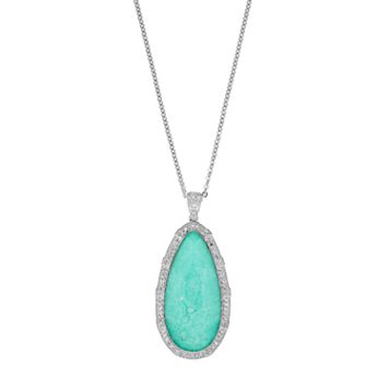 SIRI USA by TJM Sterling Silver Green Chalcedony & White Topaz Teardrop Pendant