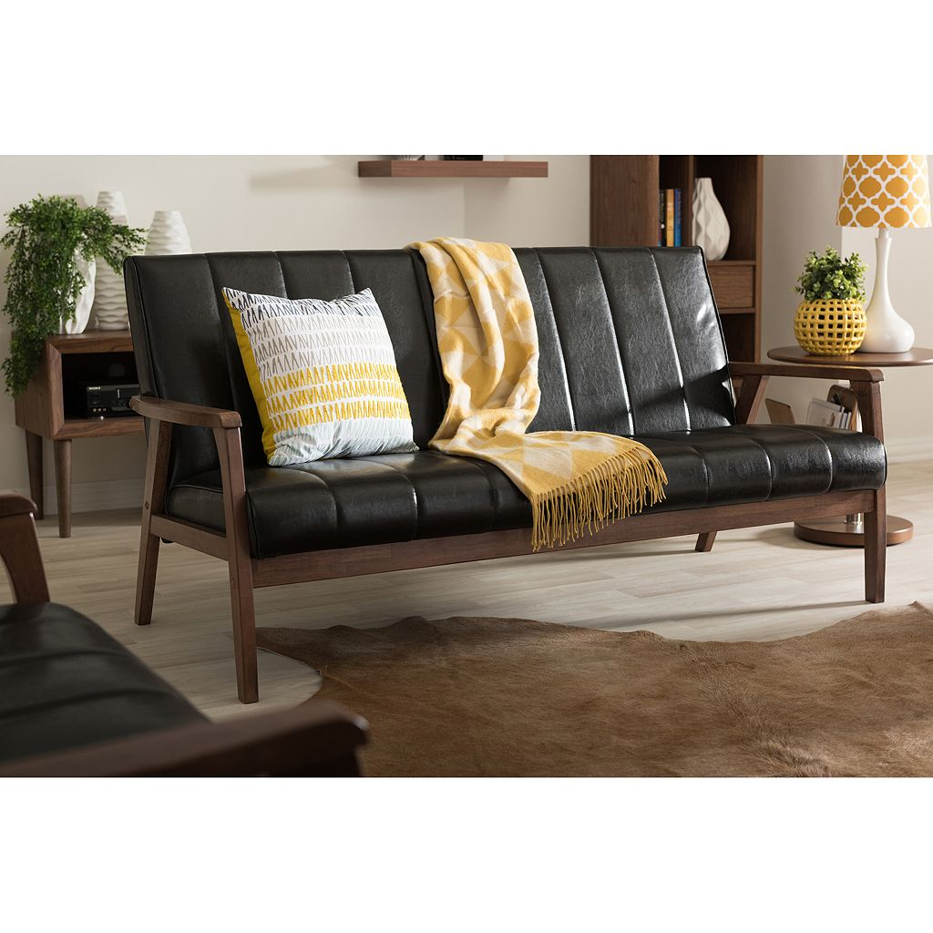 Baxton Studio Nikko Mid-Century Modern Scandinavian Faux-Leather Sofa