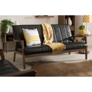Baxton Studio Nikko Mid-Century Modern Scandinavian Faux-Leather Sofa