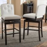 Baxton Studio Ginaro Faux-Leather Swivel Bar Stool 2-piece Set