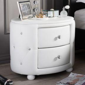 Baxton Studio Davina Holly Glamour Oval Nightstand