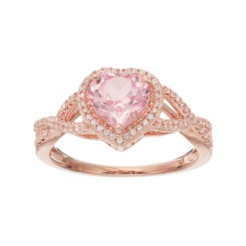14k Rose Gold Over Silver Lab-Created Morganite & White Sapphire Heart Halo Ring