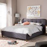Baxton Studio Germaine Mid-Century Modern Tufted Platform Bed