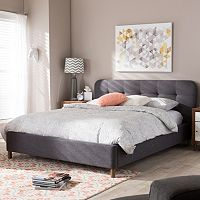 Baxton Studio Germaine Mid-Century Modern Tufted Platform Bed