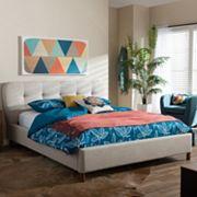 Baxton Studio Germaine Mid-Century Modern Mixed Linen Platform Bed