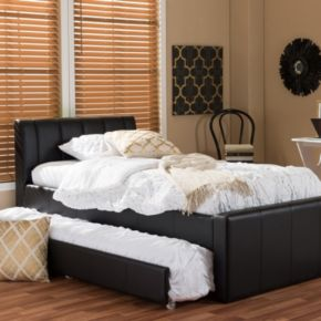 Baxton Studio Cosmo Faux-Leather Twin Bed & Trundle