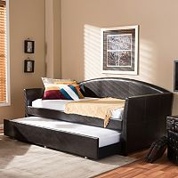 Baxton Studio London Faux-Leather Arched Twin Daybed & Trundle