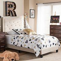 Baxton Studio Paris Tufted Linen Upholstered Twin Platform Bed