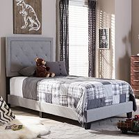 Baxton Studio Paris Tufted Linen Upholstered Twin Platform Bed