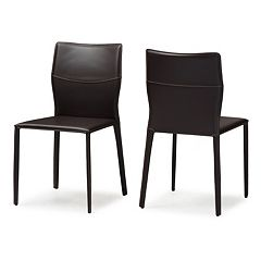 Baxton Studio Asper Leather Upholstered Dining Chair 2-piece Set by