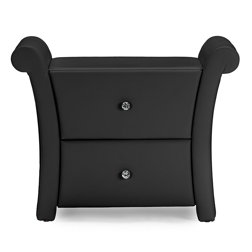 Baxton Studio Victoria Matte Finish Faux-Leather Nightstand