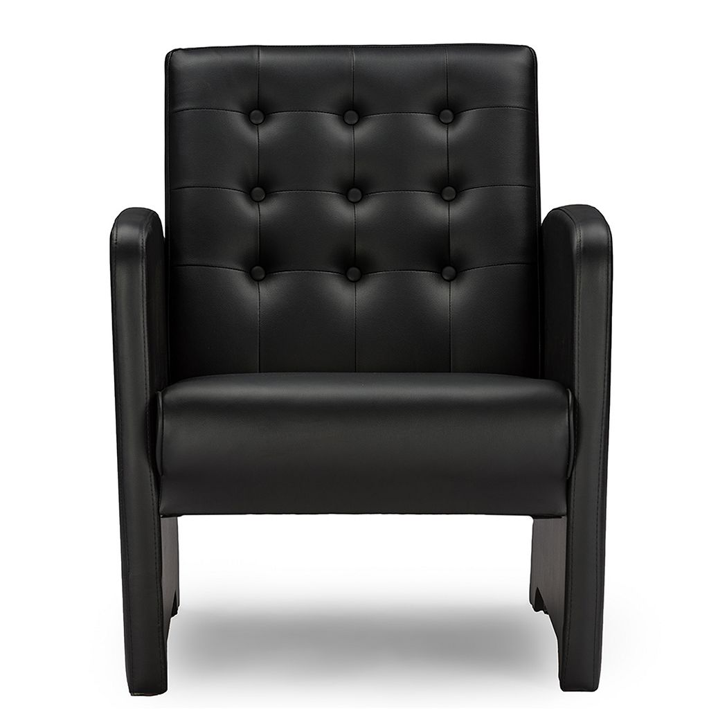 Baxton Studio Jazz Upholstered Tufted Faux-Leather Club Chair