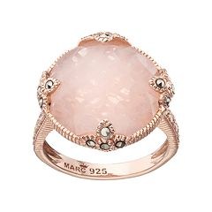 Lavish by TJM 18k Rose Gold Over Silver Rose Quartz & Marcasite Circle Ring