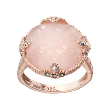 Lavish by TJM 18k Rose Gold Over Silver Rose Quartz & Marcasite Circle Ring