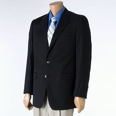 Chaps Black 2-Button Blazer - Big and Tall