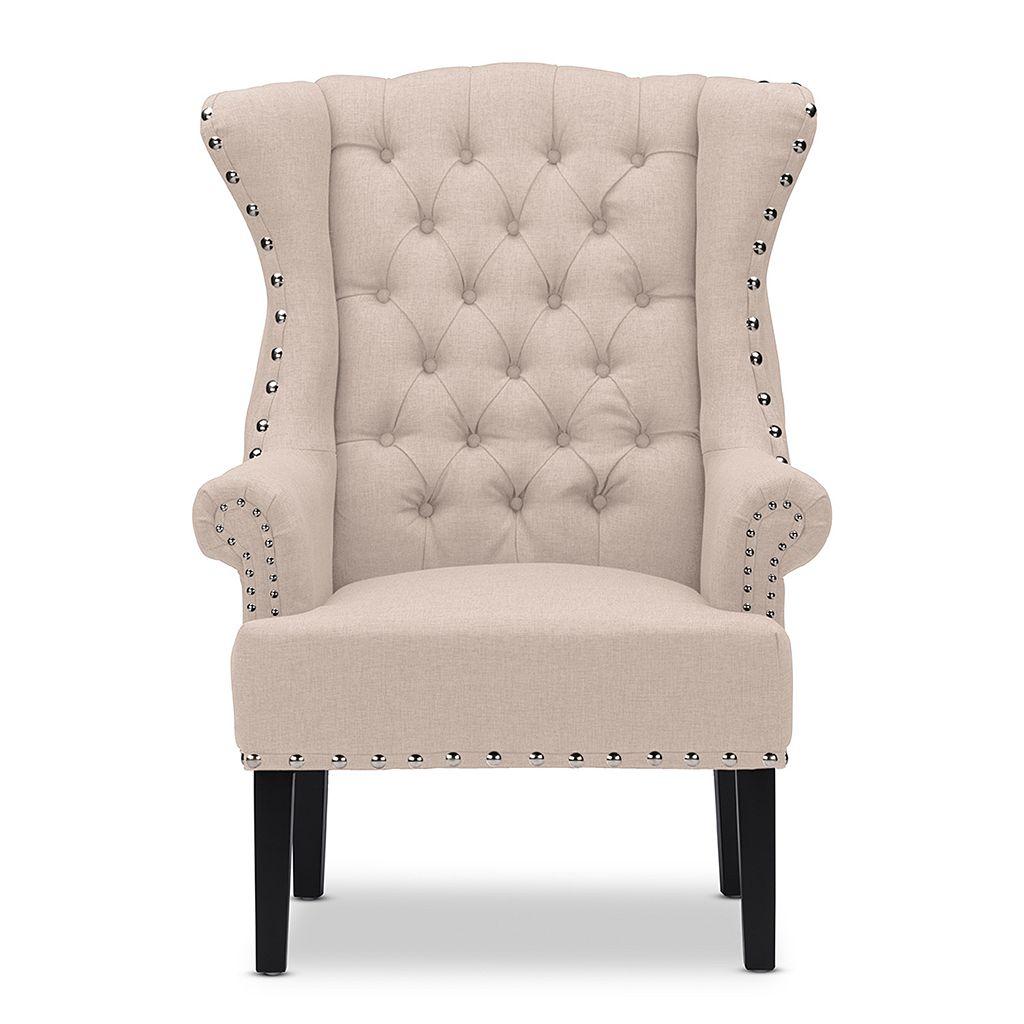 Baxton Studio Knuckey Nailhead Linen Wing Arm Chair