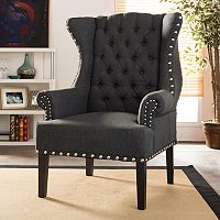 Baxton Studio Knuckey Nailhead Linen Wing Arm Chair