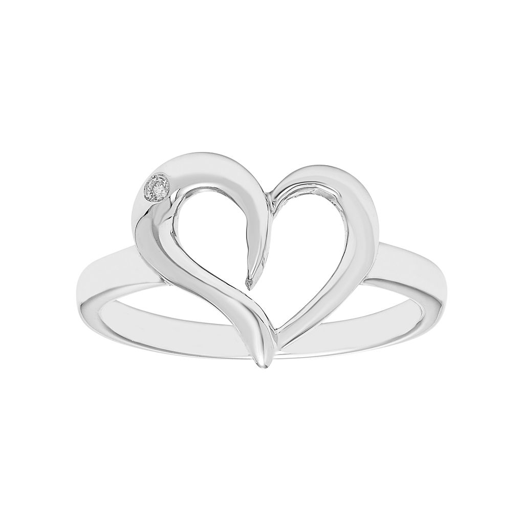 Sterling Silver Diamond Accent Heart Ring