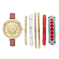 Folio Women's Floral Watch & Bracelet Set