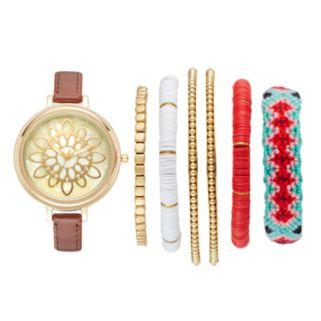 Folio Women's Floral Watch & Bracelet Set