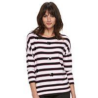 Women's ELLE™ Striped Paillette Crewneck Sweater