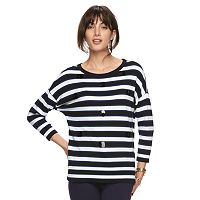 Women's ELLE™ Striped Paillette Crewneck Sweater