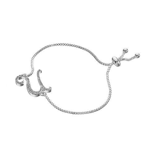 Silver Plated Crystal Initial Adjustable Bracelet