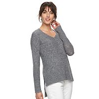 Women's ELLE™ High-Low Cable Knit Sweater