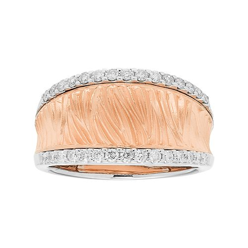 14k Rose Gold 3/8 Carat T.W. Diamond Textured Concave Ring