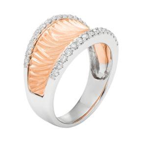 14k Rose Gold 3/8 Carat T.W. Diamond Textured Concave Ring