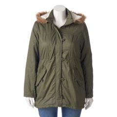 Juniors' Plus Size Urban Republic Twill Faux-Fur Anorak Jacket