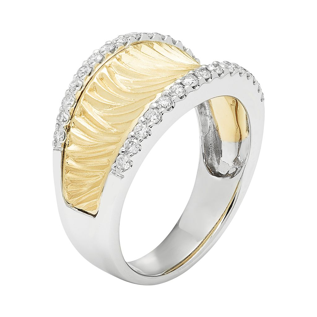 14k Gold 3/8 Carat T.W. Diamond Textured Concave Ring