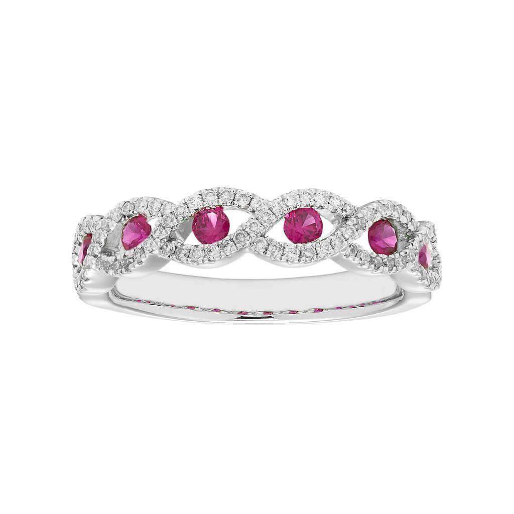 14k White Gold 1/4 Carat T.W. Diamond & Ruby Braided Ring